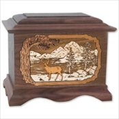 Wood urn with 3-d Inlay design