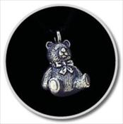 Pewter Teddy Bear Keepsake Pendant
