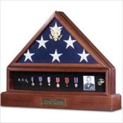 Flag Case, Pedestal, and Medal Case Combo