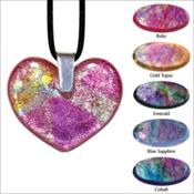 Heart Art Glass Keepsake Pendant