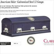Clark Grave Vault Company/The American Valor Galvanized Steel 12 Gauge    $2990