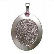 Large Silver Rimmed Pendant with Stone