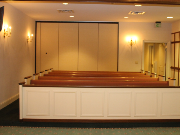 Family seating area in our chapel.