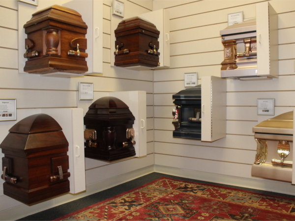 We offer a diverse selection of caskets including woods, metals and specialized metals including stainless steel, copper and bronze.