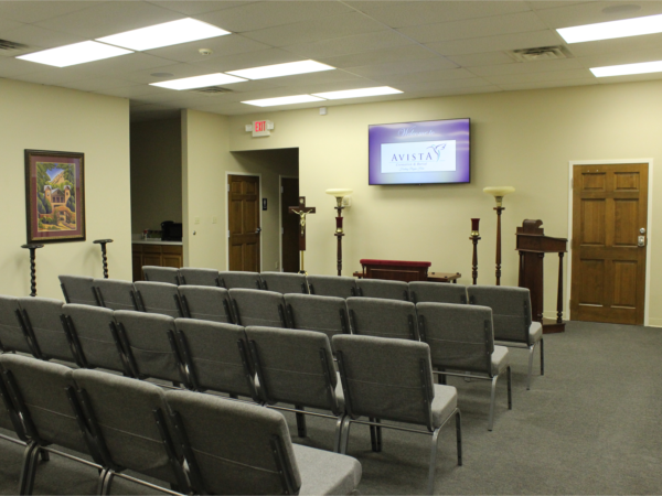 Our chapel/visitation/reception area where we can accommodate up to 60 relatives and friends to gather as we memorialize and pay tribute to the loss of our loved one.  This area is equipped with up-to-date audio and visual equipment.