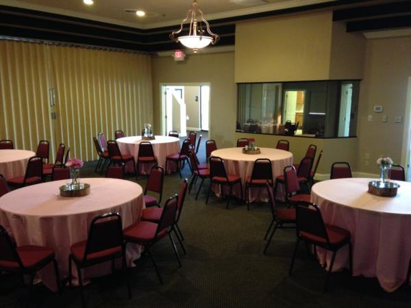 Banquet room configuration for a smaller area to accommodate approx 40 guests