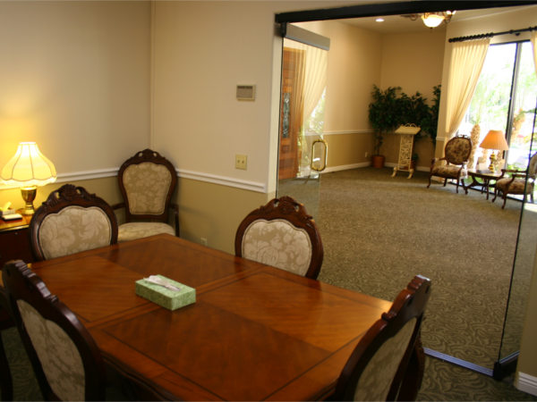 Arrangement office near the chapel lobby.