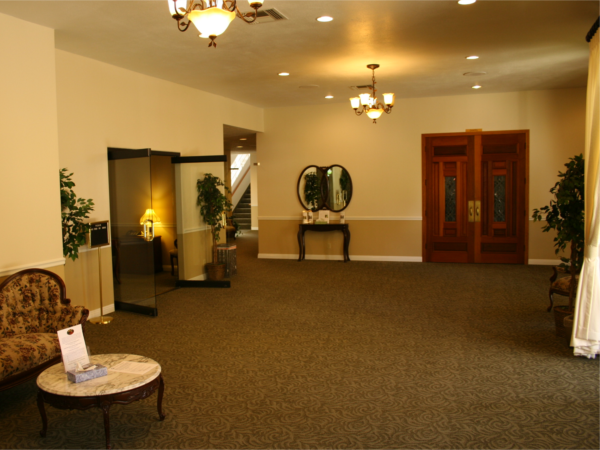 Our spacious chapel lobby for family and friends to visit and remember their loved one.