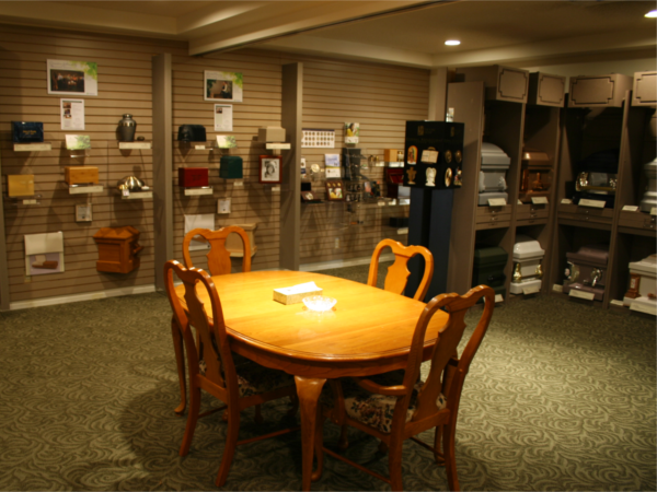 Our Resource Room, where client families can see and select memorial products.