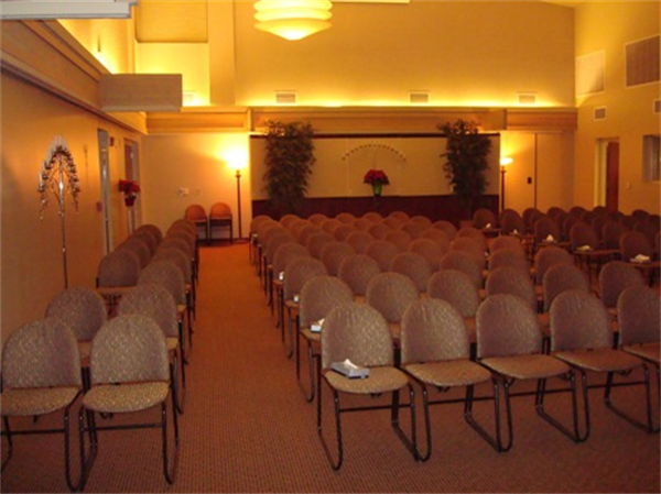 Our chapel has enough seating to accomidate large groups.  We also have the ability to produce and show DVD tributes on our large screen.