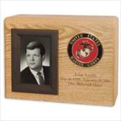 Photo Display Urn with Military Emblem