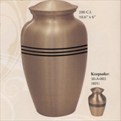 Classic Gold with Stripes - Brass Urn
