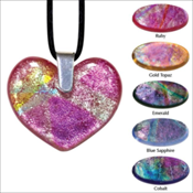 Heart Art Glass Keepsake Pendant