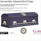 Clark Grave Vault Company/The American Valor Galvanized Steel 12 Gauge    $2990