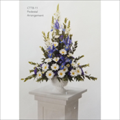 Blue and White Pedestal Arrangement