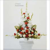 Red and White Pedestal Arrangment