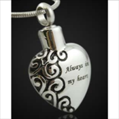 Heart Stainless Steel Silver Finish Pendant (Urn)