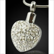 Detailed Heart Stainless Steel Silver Finish Pendant (Urn)