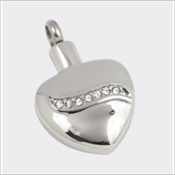 Jewelled Heart Stainless Steel Silver Finish Pendant (Urn)