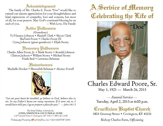 Charles Poore Obituary - Visitation & Funeral Information