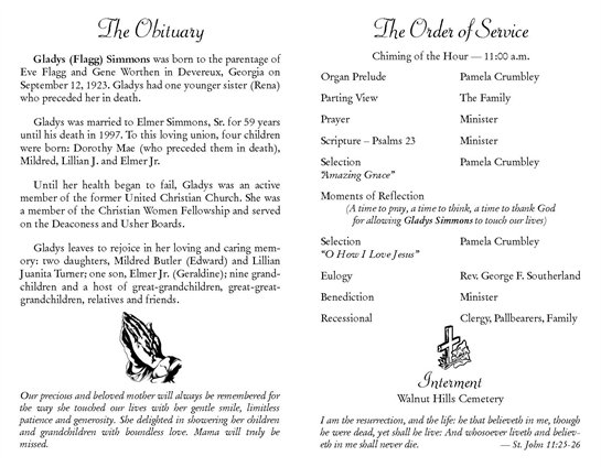Gladys Simmons Obituary - Visitation & Funeral Information