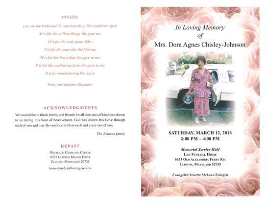 Dora Agnes Chisley-Johnson Obituary - Visitation & Funeral