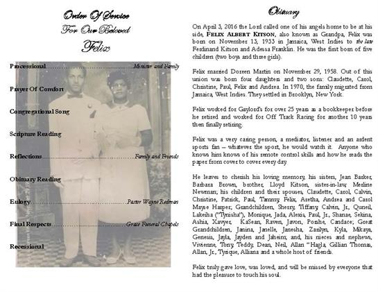 Felix A  Kitson Obituary - Visitation & Funeral Information