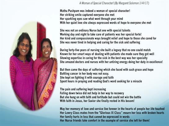 Mathu Pushpam Samnuel Obituary - Visitation & Funeral
